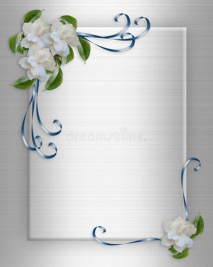 Gardenias del bordo dell'invito di cerimonia nuziale royalty illustrazione gratis