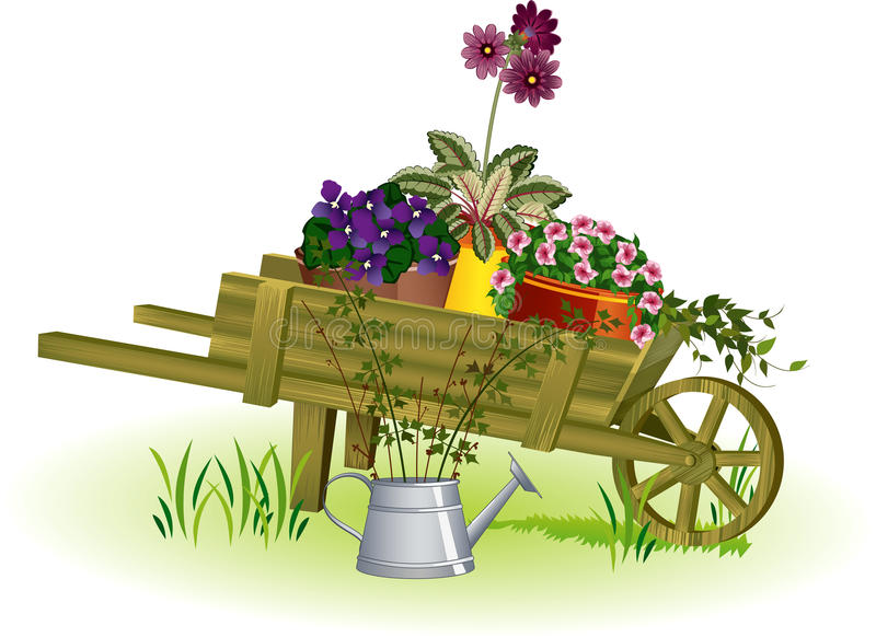 Gardening. Woden garden wheelbarrow with potted flowers and watering can with seedlings next to it - vector illustration