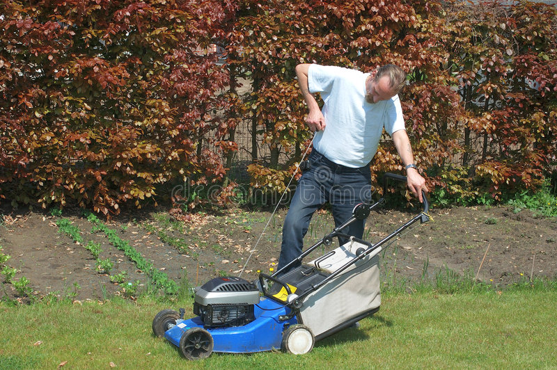 Gardening. Handsome Middle aged man working in the garden with lawnmower stock image