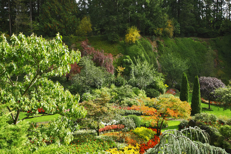 The gardening art - Butchard - garden. Masterpiece of landscape gardening art - Butchard - garden on island Vancouver in Canada stock photo
