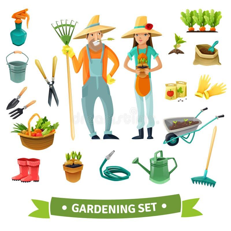 Gardening Cartoon Set vector illustration