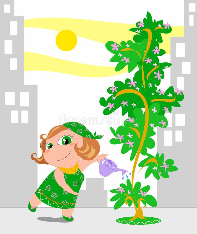 Gardening in the city. A cartoon woman is watering her tree in a big city. Humorous cartoon illustration with vector additional format