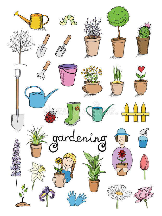 Gardening color icons collection vector illustration