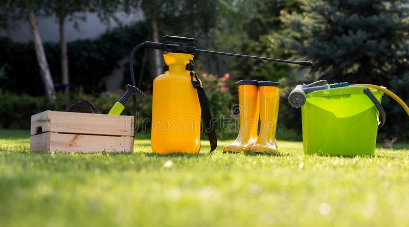 Gardening equipment on grass royalty free stock images