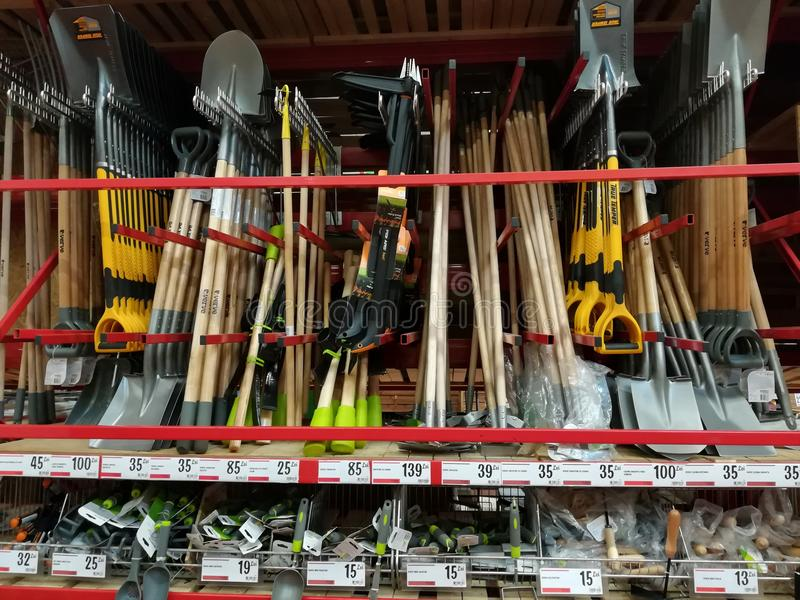 Gardening equipment - shovels. Gardening equipment and bricolage at Brico Depot hipermarket royalty free stock photos