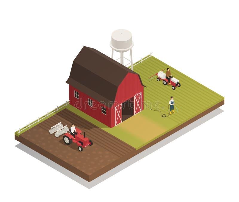 Gardening Farm Machinery Isometric Composition royalty free illustration