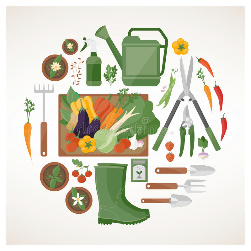 Gardening and farming concept royalty free illustration