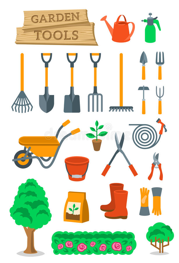 Gardening farming tools and instruments flat vector icons royalty free illustration