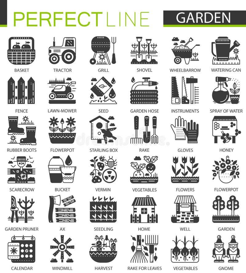 Gardening flower equipment classic black mini concept symbols. Garden modern icon pictogram vector illustrations set. stock illustration