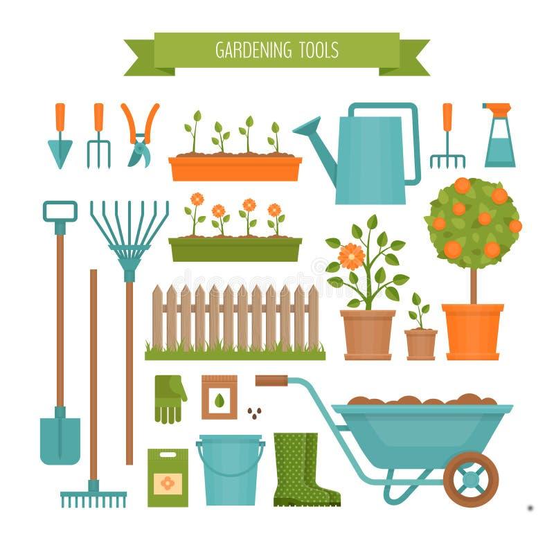 gardening Frühjahr und Gartenarbeit Flache Art, Vektorillustration vektor abbildung