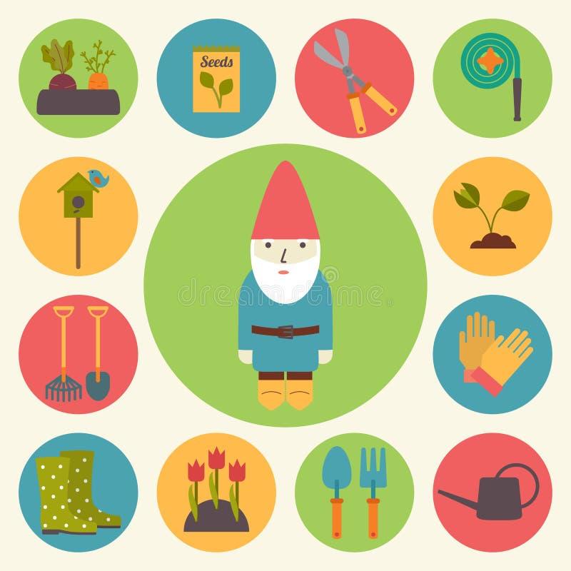Gardening, garden vector icons set. Gardening, garden icons set, flat design vector royalty free illustration