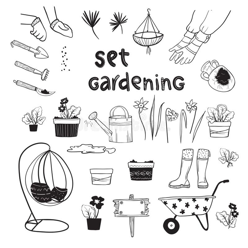 Free Gardening Hand Drawn Big Set. Home Plants, Watering Can, Garden Chair, Spring Flowers, Working Hands, Seeds, Spring Field Work, Fl Royalty Free Stock Photos - 173432968