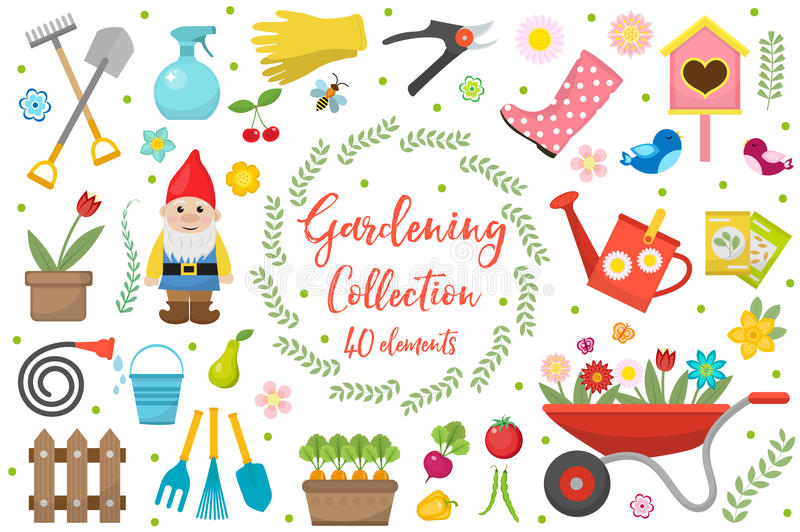 Gardening icons set, design elements. Garden tools and decor collection, isolated on a white background. Vector royalty free illustration