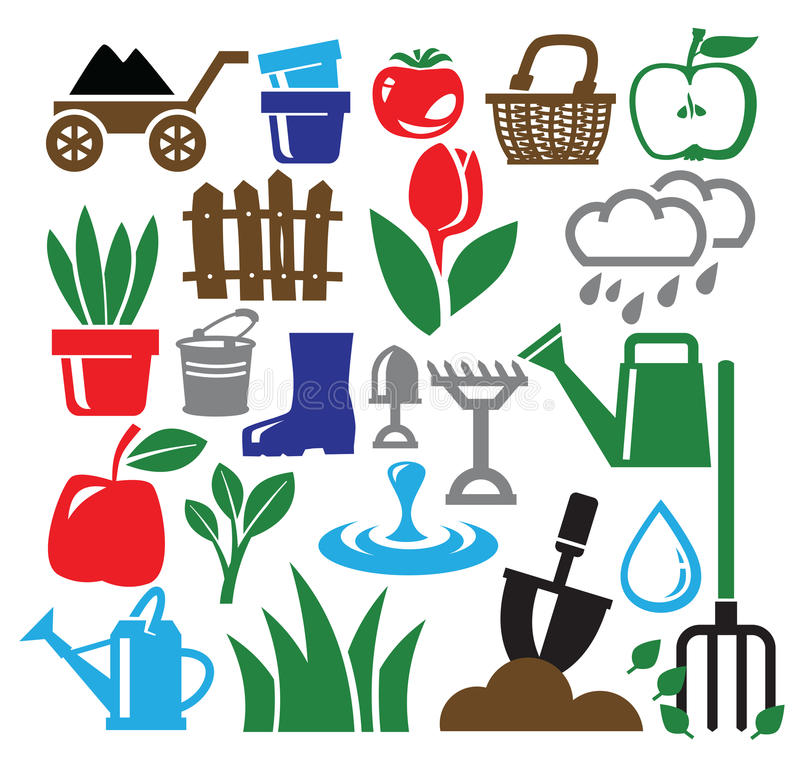 Download Gardening icons stock vector. Image of environment, apple - 30373045