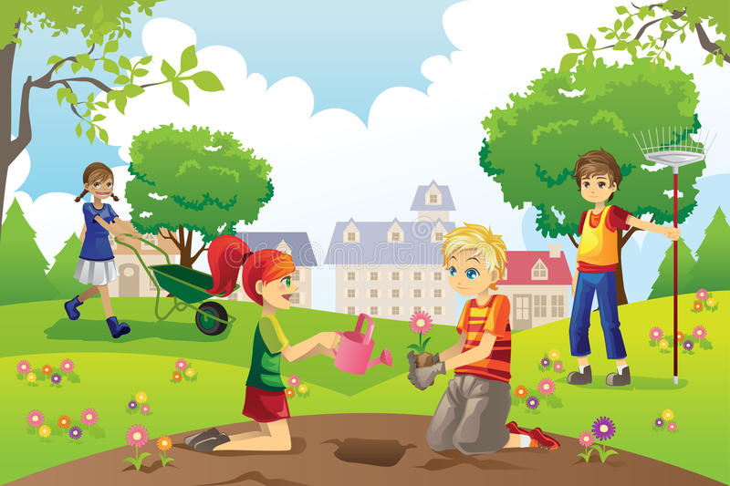 Gardening kids royalty free illustration