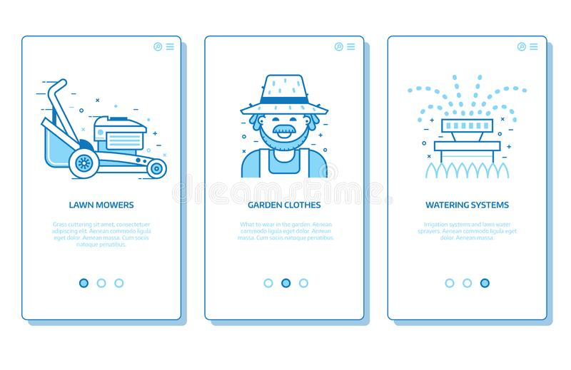 Gardening and Landscaping Services App Screens. Lawn and garden services onboarding app screens with lawn mower, gardener and irrigation icons. Gardening and vector illustration