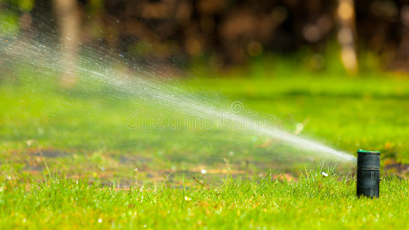 Gardening. Lawn sprinkler spraying water over grass. Gardening. Lawn sprinkler spraying water over green grass. Irrigation system - technique of watering in the stock photos