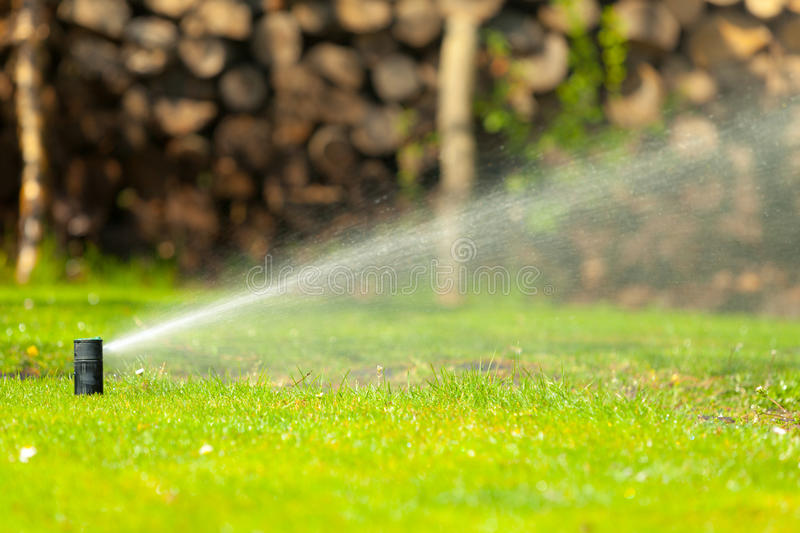 Gardening. Lawn sprinkler spraying water over grass. Gardening. Lawn sprinkler spraying water over green grass. Irrigation system - technique of watering in the royalty free stock photography