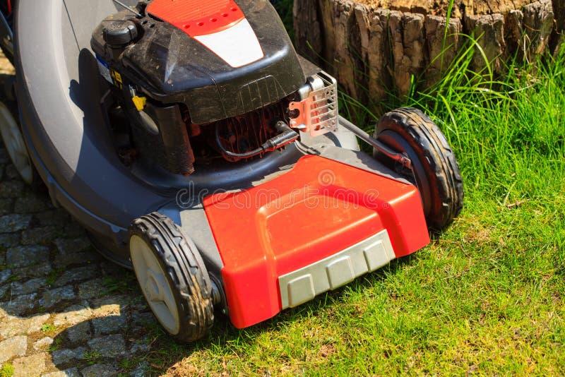 gardening Mähender grüner Rasen mit rotem Rasenmäher lizenzfreie stockfotos