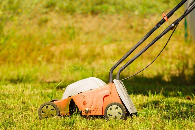 gardening Mähender Rasen mit Rasenmäher stockbild