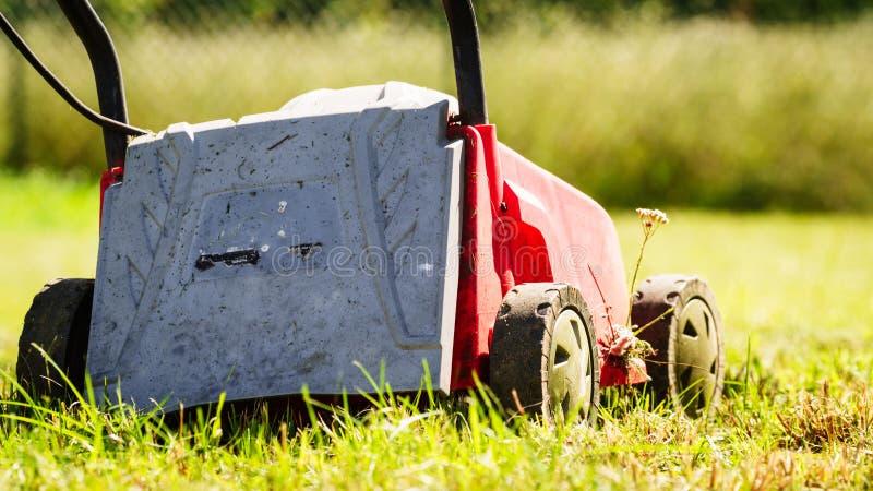 gardening M?hender Rasen mit Rasenm?her stockfotografie