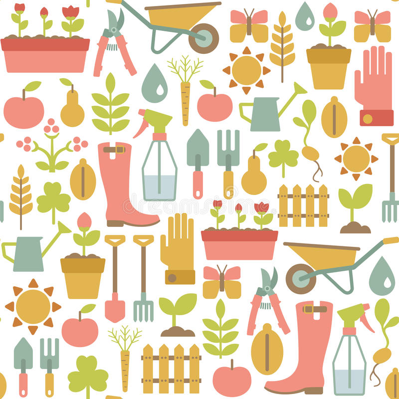 Gardening pattern royalty free illustration