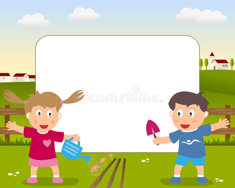 Gardening Photo Frame. A funny cartoon photo frame with a girl and a boy playing with gardening tools in a country landscape vector illustration