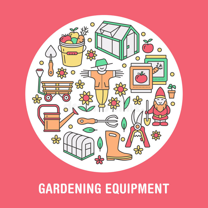 Gardening, planting, horticulture banner with vector line icon. Garden equipment, green house, scarecrow, pruners vector illustration
