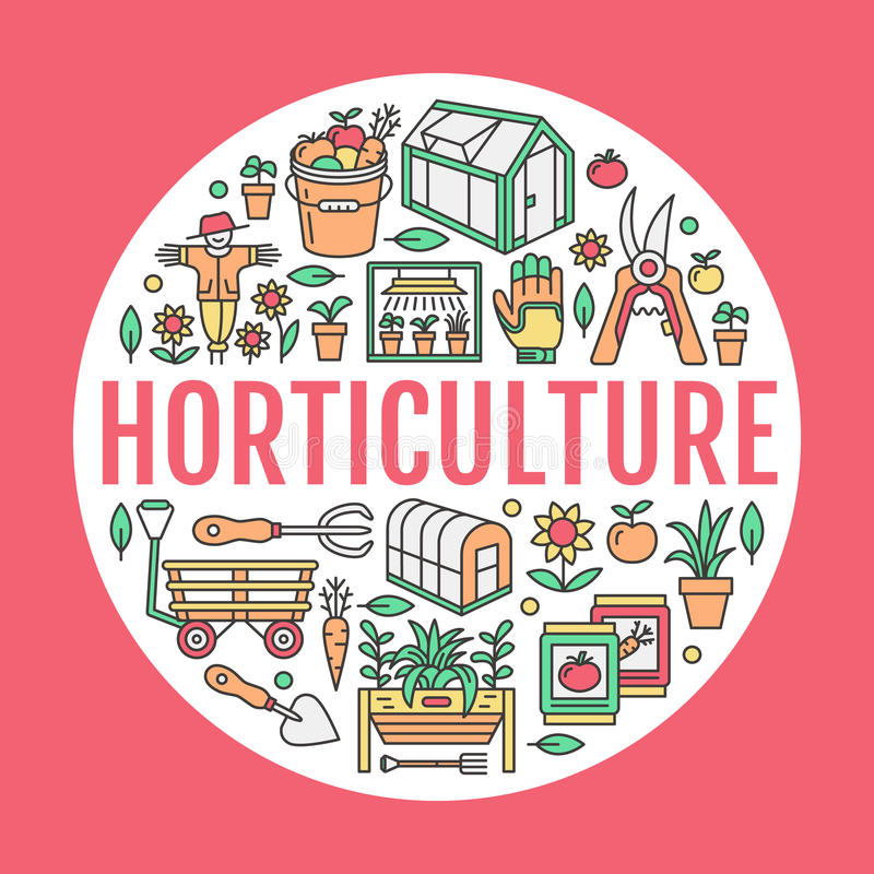 Gardening, planting horticulture banner with vector line icon. Garden equipment, organic seeds, green house, pruners stock illustration