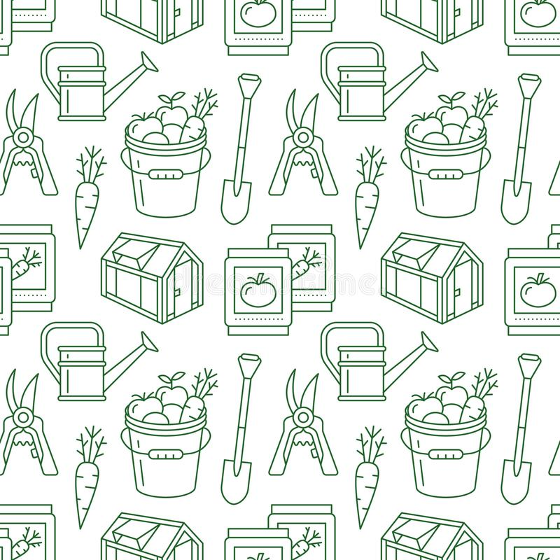 Gardening, planting and horticulture green seamless pattern with vector line icons. Garden equipment, organic seeds vector illustration
