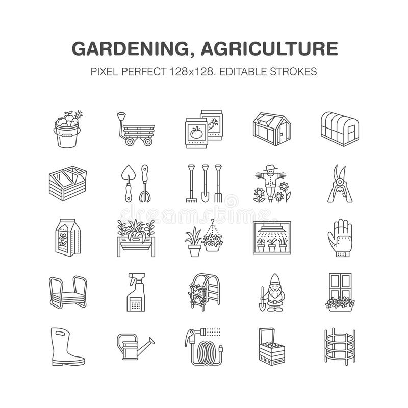Gardening, planting horticulture line icons. Garden equipment, organic seeds, fertilizer, greenhouse, pruners, watering stock illustration