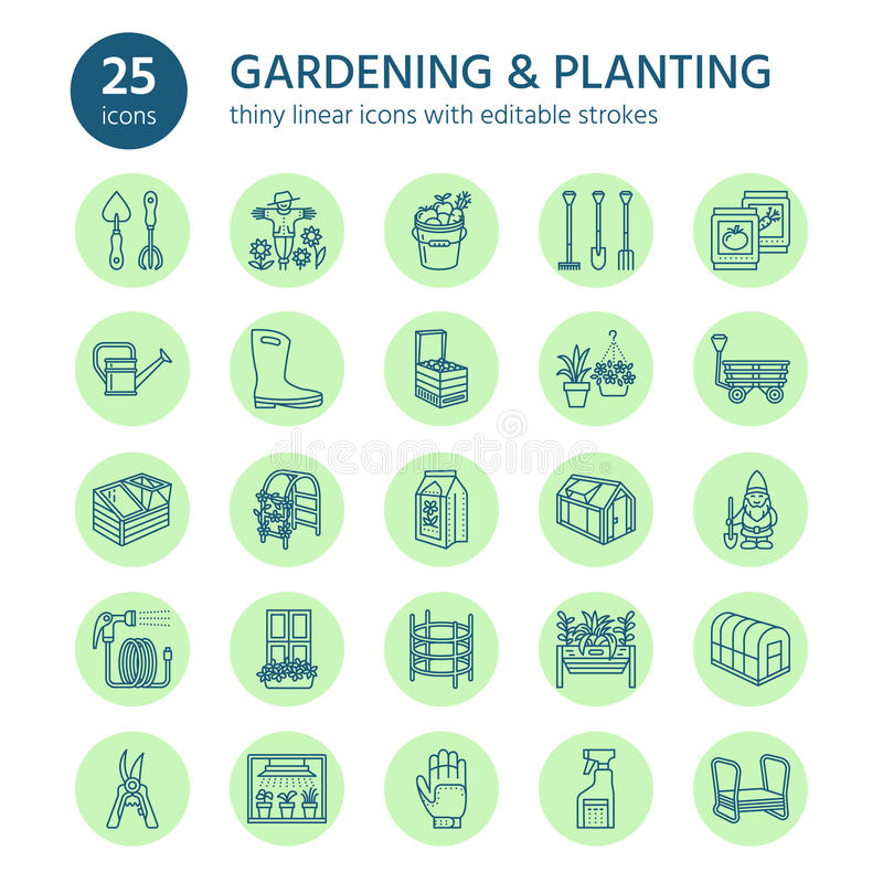 Gardening, planting and horticulture line icons. Garden equipment, organic seeds, fertilizer, greenhouse, pruners royalty free illustration