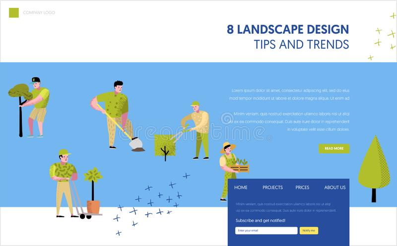 Gardening, Planting Landing Page Template. Character Gardener Growing Plants Concept for Web page or Website royalty free illustration