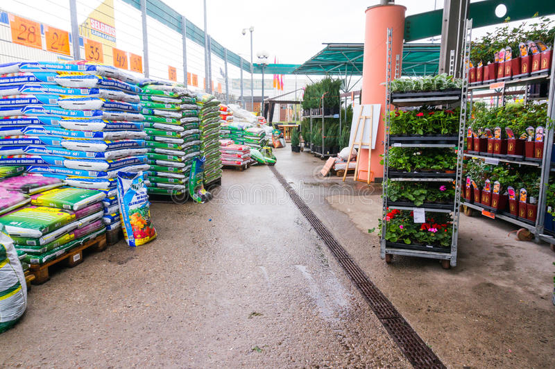 Gardening products in store. Gardening products in Hornbach store, Romania stock images