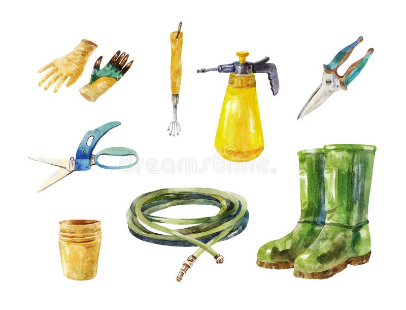 Gardening scissors, hose, rubber boots, sprayer and other garden. Gardening scissors, hose, sprayer and other garden instruments or tools royalty free illustration