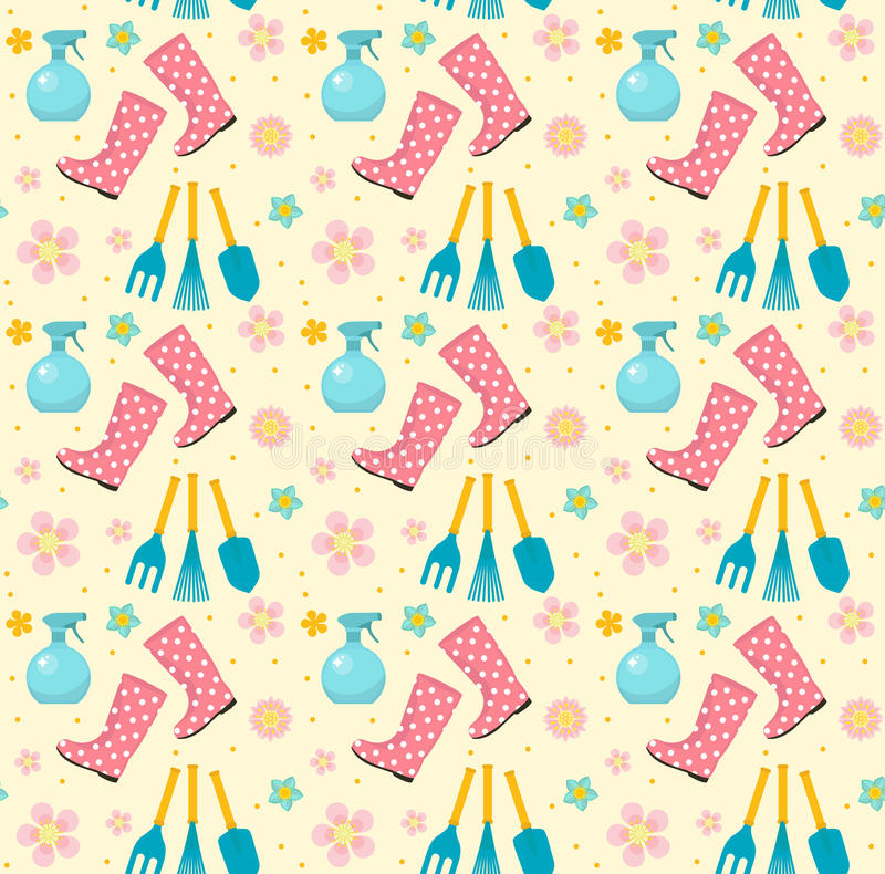 Download Gardening Seamless Pattern With Garden Tools. Spring Endless  Backdrop. Horticulture Texture, Wallpaper