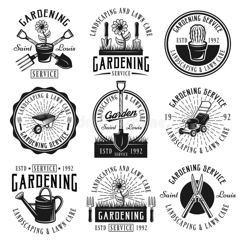 Gardening service set of emblems, badges, labels. Gardening service, landscaping and lawn care set of nine vector black emblems, badges, labels or logos in retro royalty free illustration