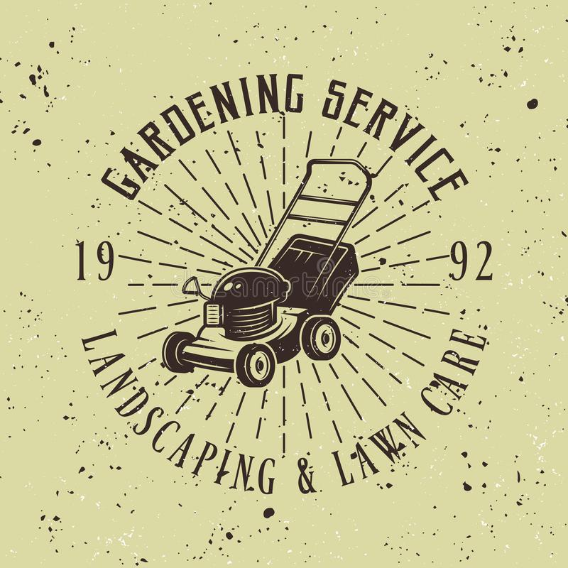 Gardening service vector emblem with lawn mower. Gardening service vector colored emblem, badge, label or logo with lawn mower on green background, removable vector illustration