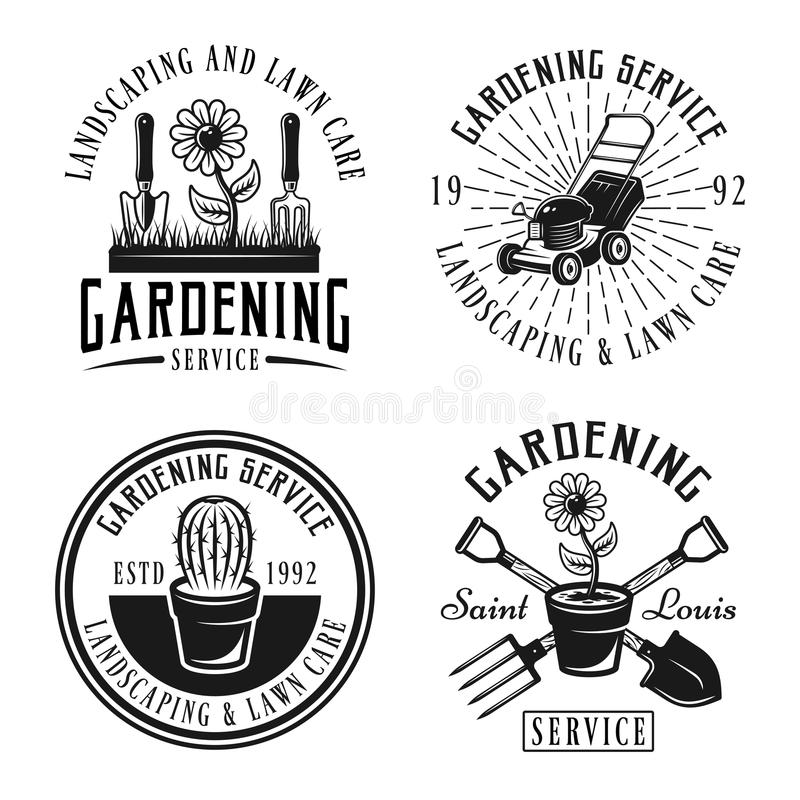 Gardening service vector emblems, badges, labels. Set of four gardening service vector emblems, badges, labels or logos in retro style isolated on white vector illustration
