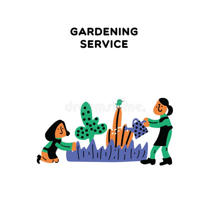 Gardening service. Vector illustration of two women, taking care about garden plants. Cartoon characters. stock illustration