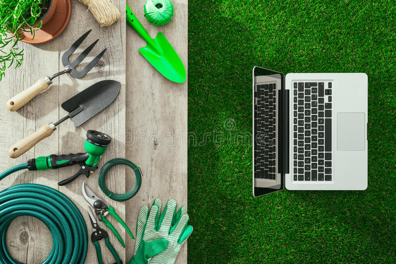 Gardening and technology royalty free stock photo