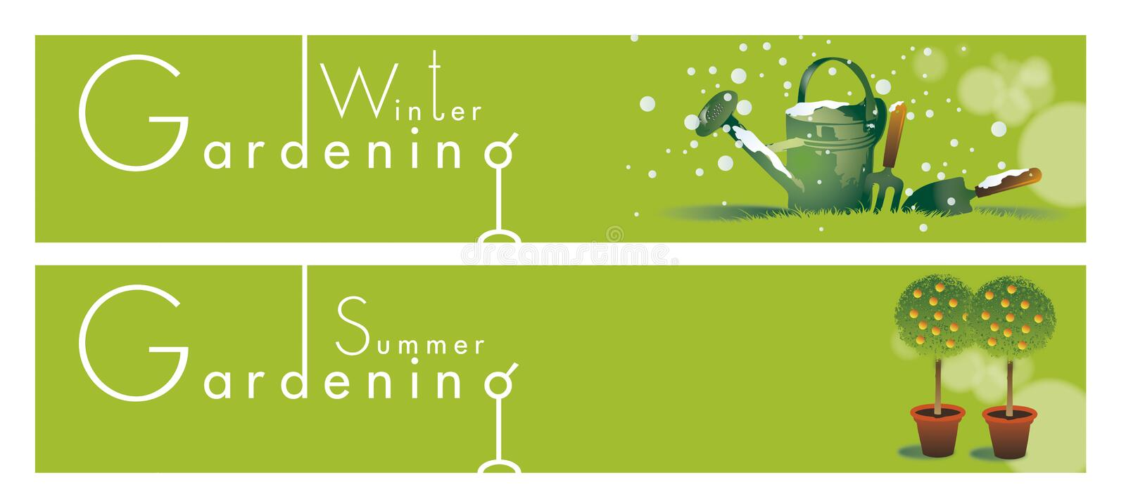 Gardening Themed Banners vector illustration