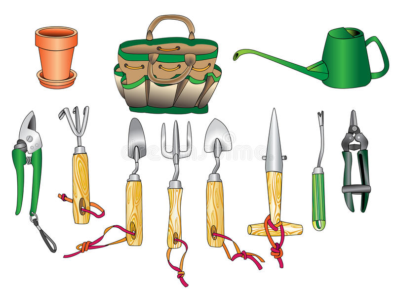 Gardening tool kit 01 royalty free illustration