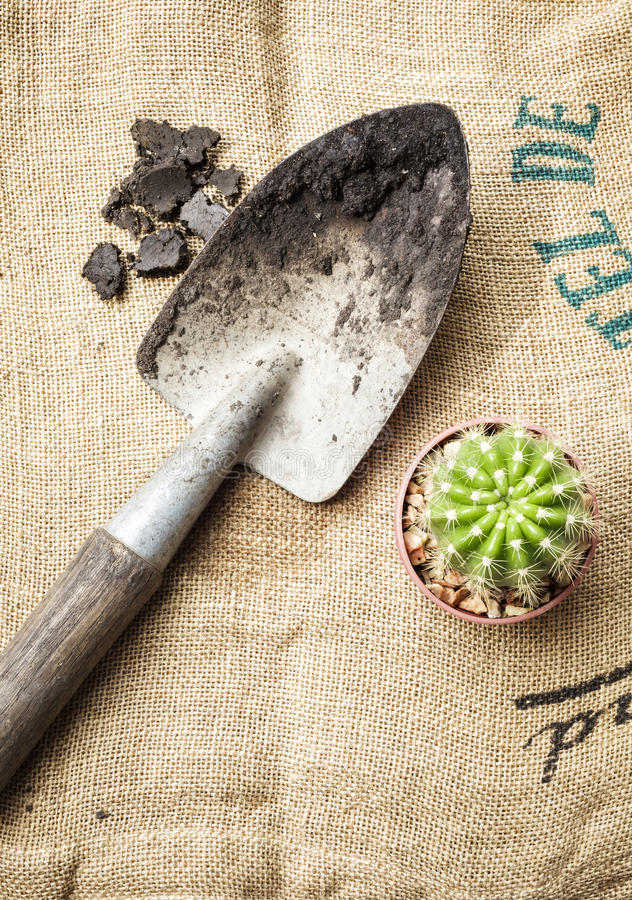 Gardening tools with cactus on sack background royalty free stock photography