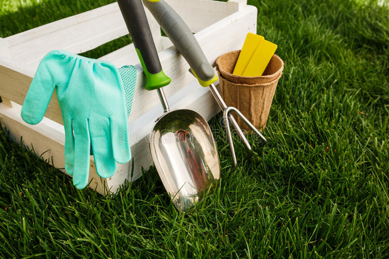 Gardening tools and equipment closeup in the backyard. royalty free stock images