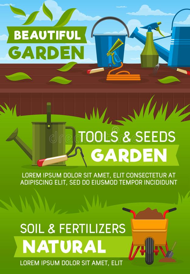 Gardening tools on lawn green grass. Gardening tools and equipment, garden shop vector design. Shovel, spade and fork, watering can, hose and bucket, wheelbarrow stock illustration