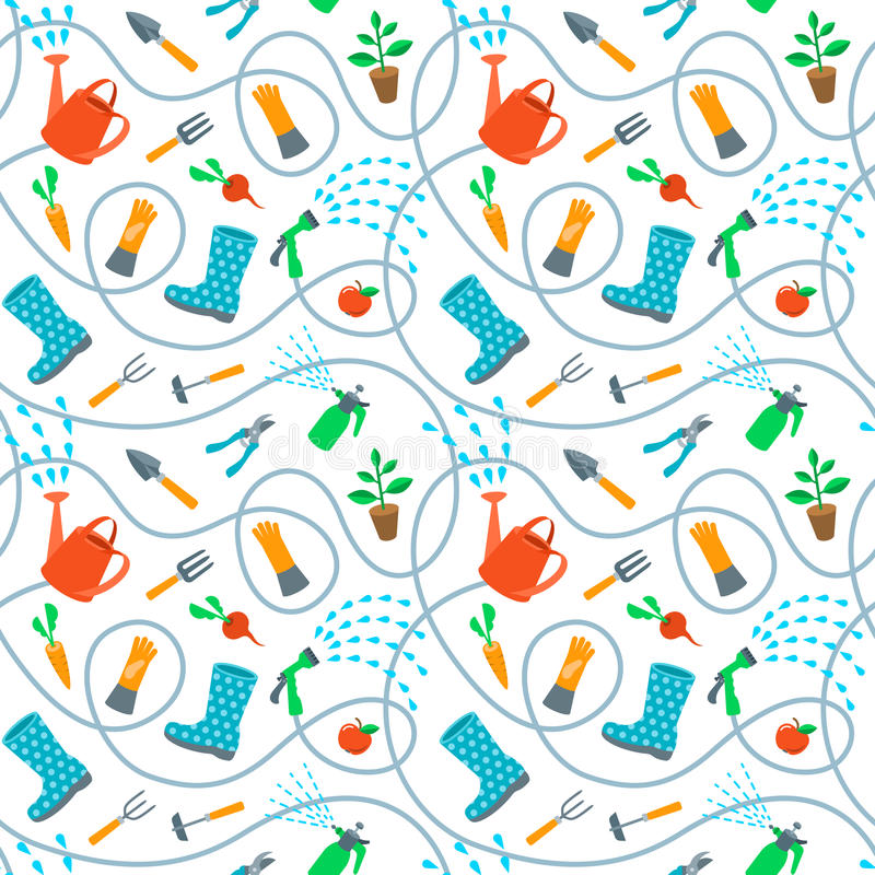 Download Gardening Tools And Fruits Flat Seamless Background Pattern Stock  Vector   Illustration Of Cultivation,