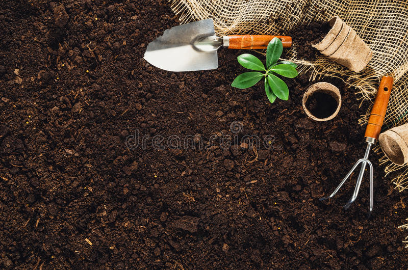 Gardening tools on garden soil texture background top view royalty free stock photos