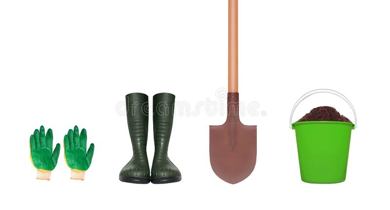 Gardening tools - gloves, rubber boots, shovel and plastic bucket with soil isolated on white stock photography
