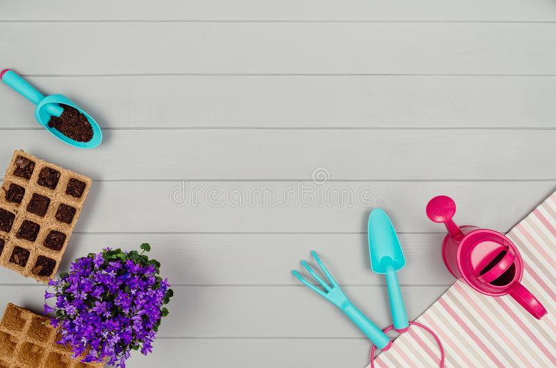 Gardening tools on gray wooden table background top view royalty free stock photos